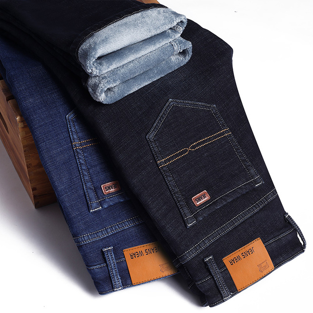 Winter Thermal Warm Flannel Stretch Jeans Mens Winter Quality Famous Brand Fleece Pants Men Straight Flocking Trousers Jean Male 5