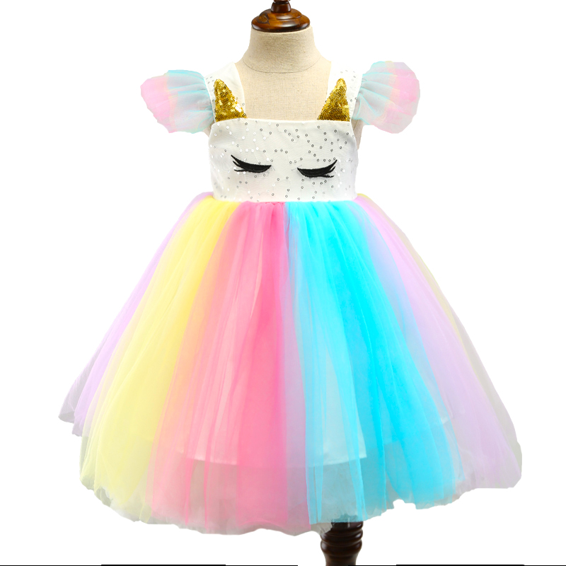Baby Girls Unicorn Rainbow Christmas Brithday Sequin Tutu Dresses Clothes Children Kids Princess Party Little Pony Clothing 2