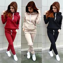 Spring and Autumn Lady Leisure 2 Piece Set Outdoor Women Hoodie + Tracksuit Warm Ladies Sports Suit Hooded Fleece