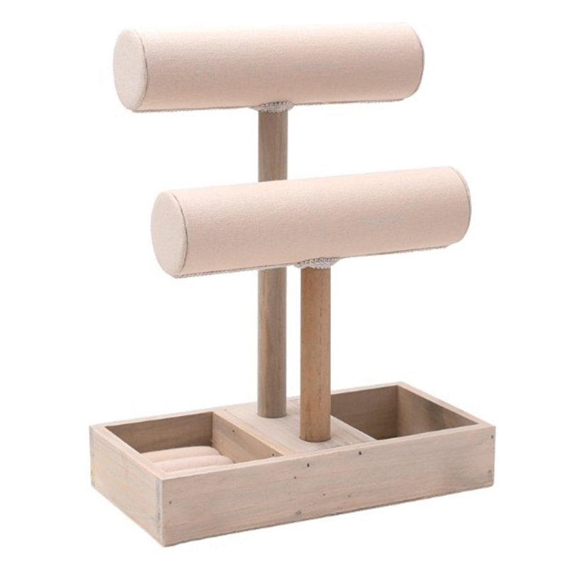 Plain Unpainted Wooden T-Bar Earrings Necklace Bracelet Jewelry Display Holder Stand For Jewelry Packaging Display