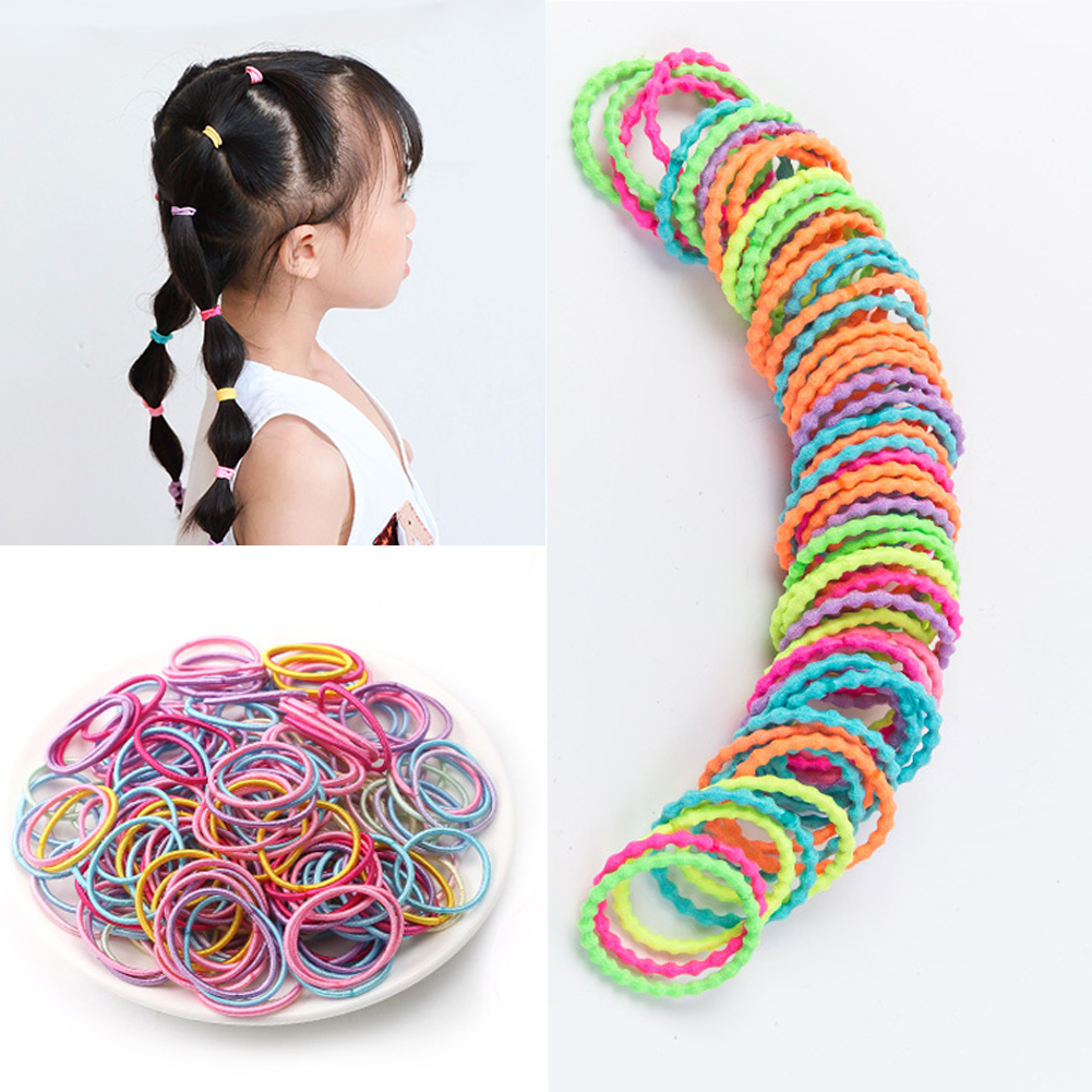 50pcs/lot Scrunchies Baby Elastic Hair Bands Ponytail Holder Rubber Band Gum Hair Accessories Headwear For Kids Christmas Gift