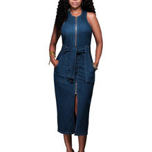 Denim Dress Zipper Front-Split Blue Women Sexy Fashion Sleeveless for with BELTED
