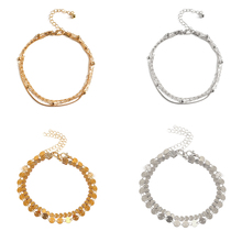 4 Pcs/ Set  New Multilayer Foot Chain Ankle Bracelets for Women Round Sequins Beads Footchain Anklet Accessories
