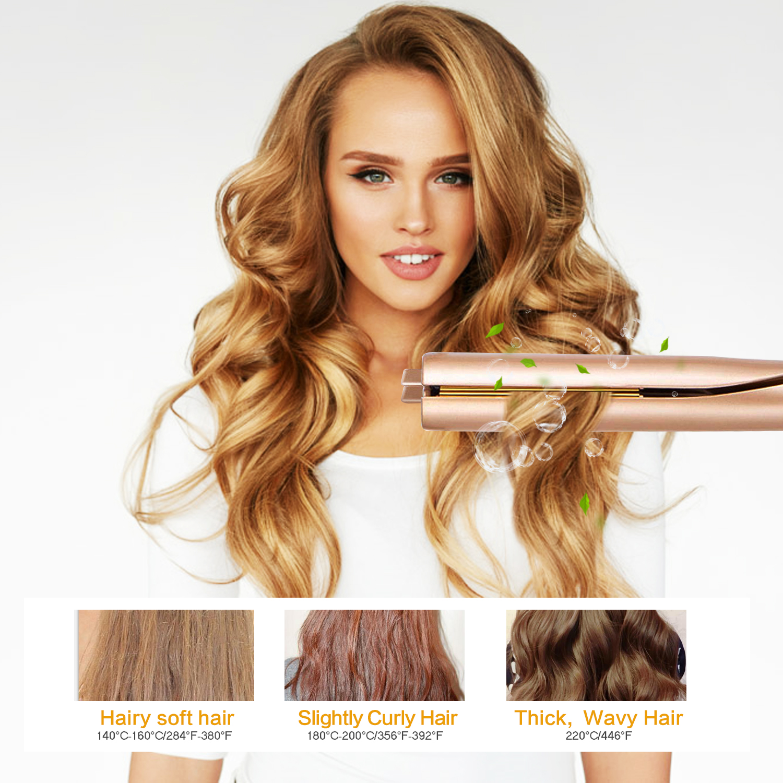 Titanium Flat Iron Gold Twist Hair Straightener And Curler 2 In 1 Straightener & Curling Iron For Salon Hair Professional