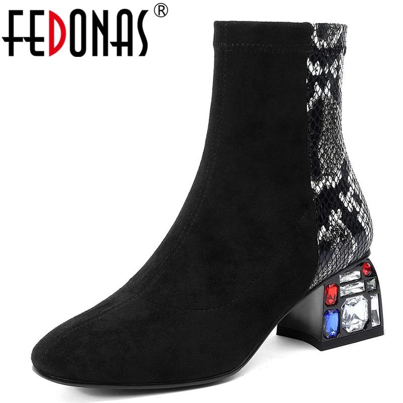 FEDONAS nouvelles impressions d'animaux Patchwork femmes bottes courtes chaussures de danse femme classique cristal talons hauts hiver femmes bottines
