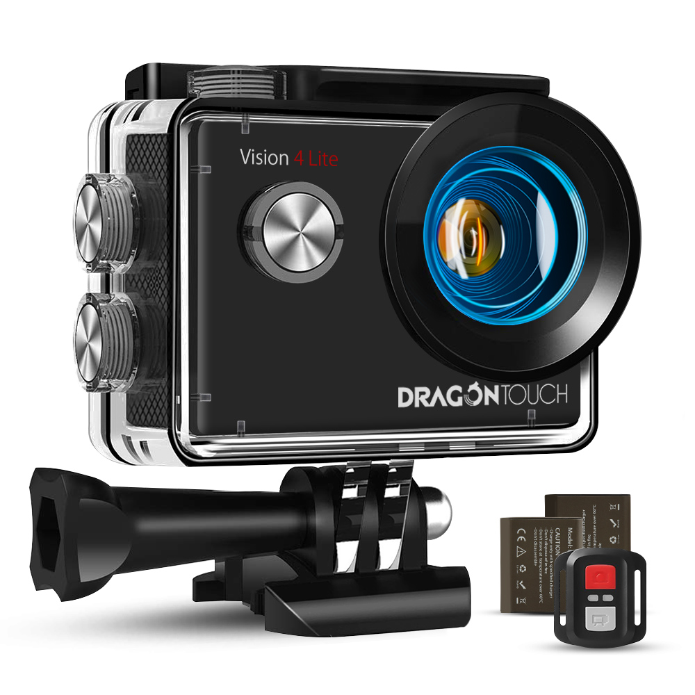 Dragon Touch Vision4 Lite 4K 20MP HD Action Camera Remote Control Helmet Sport Camera EIS WiFi Underwater Waterproof Action Cam