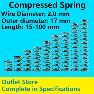 Compression spring Compressed Spring Retracing Spring Spot Goods Line Diameter 2.0mm, External diameter 17mm, Length 60mm-100mm