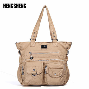 Image 1 - Multi Pocket Luxury Soft PU Leather Shoulder Bags for Women Large Capacity Shopping Crossbody Hobo Bags European Tote Handbag