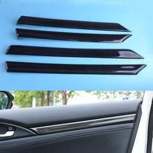 Beler 4 шт. углеродное волокно черная текстура межкомнатные двери подлокотник полоса панель Trm ABS Подходит для Honda Civic 10th