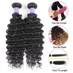Image 5 - Klaiyi Hair Brazilian Deep Wave Bundles With Closure Free Part Human Hair Bundles With Closure Dark Black 4pcs Remy Hair Weaves