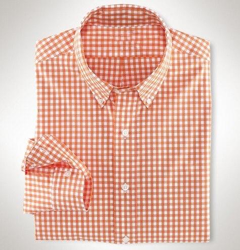 Man High Quality Small Pony Men Long Sleeve Dress Shirts 100%Cotton Hombre Chemises Plaid Shirts