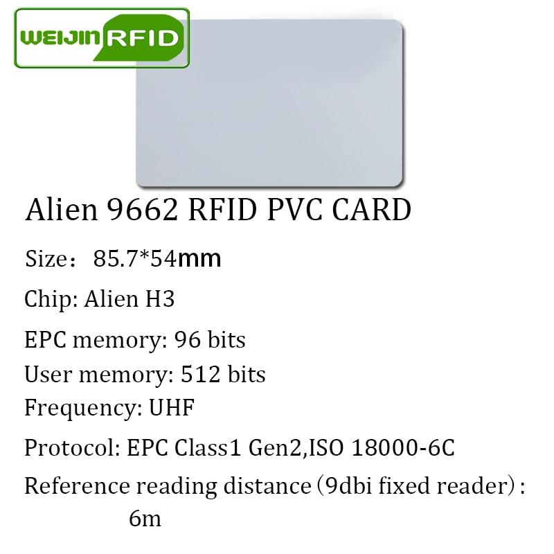 Купить с кэшбэком UHF RFID PVC card Alien 9662 915m868m860-960MHZ H3 EPC 6C 20pcs free shipping long reading distance smart card passive RFID tag