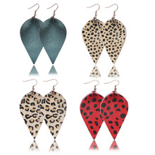 Leaves Drop Earrings Leopard Print Petal Dangle for Girls Women Party Christmas Wedding Gifts