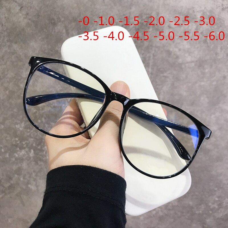 -1.0 1.5 2.0 a 6.0 preto terminado miopia óculos homens mulher transparente óculos de prescrição estudante óculos de visão curta