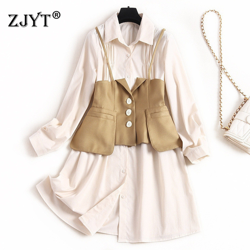 2020 New Runway Designers Spring Dress 2Piece Set Women's Fashion Long Sleeve Turn Down Collar Solid Aline Shirt Dress