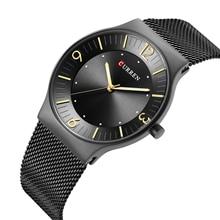 CURREN Full Black Stainless Steel Business WristWatch Mesh Quartz Sport Watch Fashion Casual Design Ladies Hardlex Mirror