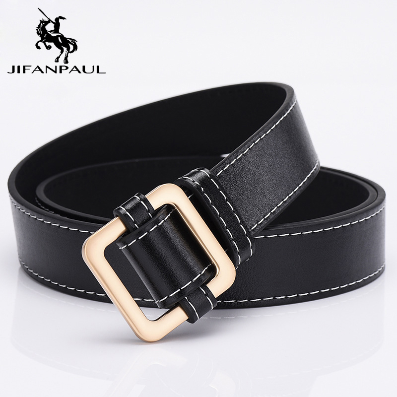 JIFANPAUL  Genuine Leather Ladies Fashion Retro Belt Alloy Flip Buckle New Designer Design Famous Brand Jeans Wear Student Belt