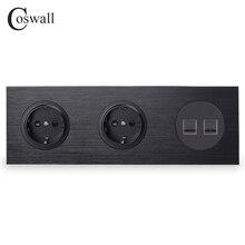Coswallสีดำอลูมิเนียมแผงโลหะ 16Aคู่EUมาตรฐานซ็อกเก็ต + 2 CAT5E RJ45 อินเทอร์เน็ตข้อมูลคอมพิวเตอร์แจ็คr12 Series