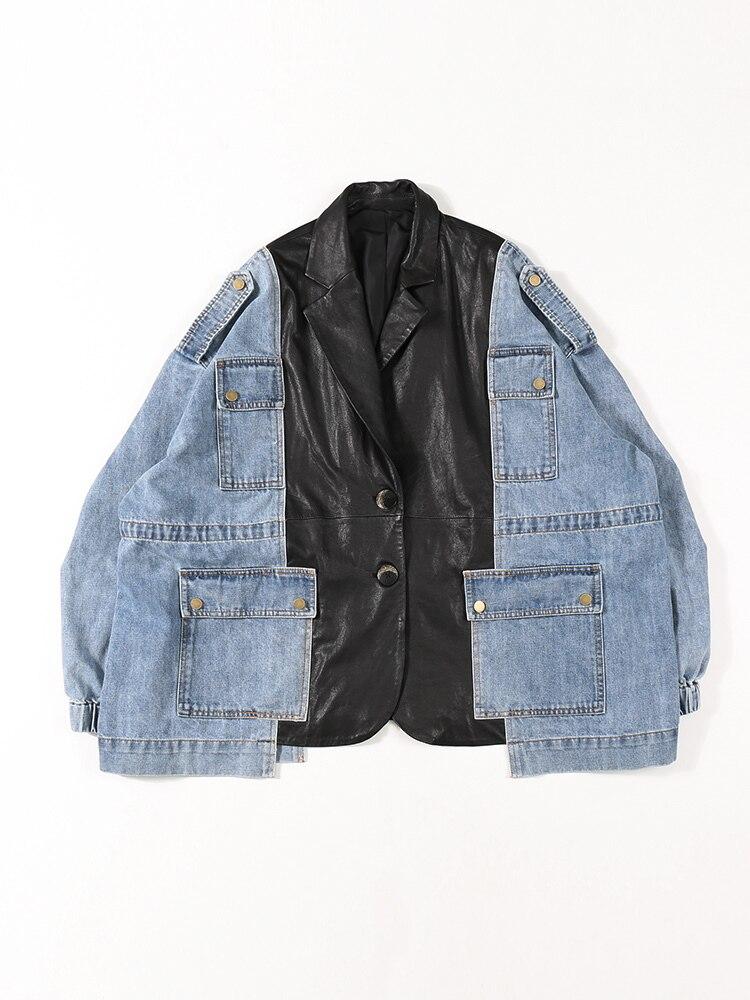 2020 Autumn And Winter New Stitching Denim Super Large Size Loose Sheep Skin Korean Version Hip Hop Leather Jacket