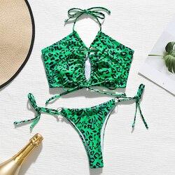 In-X, Леопардовый купальник, женский сексуальный купальник на шнуровке, бикини, 2020, купальник с высокой посадкой, женская летняя купальная оде... 6