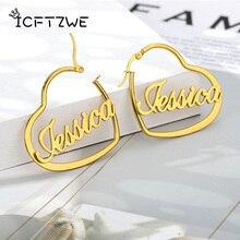 Custom Name Heart Earrings For Women Stainless Steel Gold Personalized Heart Letter Earring Fashion Jewelry Best Friends Gift