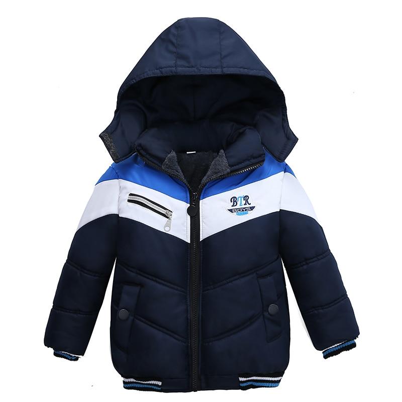 Christmas Patchwork Boys Jacket Outwear Warm Hooded Winter Jackets for Boy Girls Coat Children Parka Clothing Coat Windproof 3