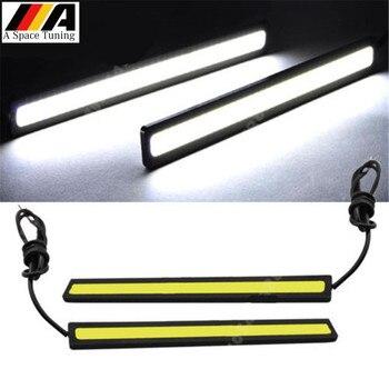 2 sztuk 17CM COB DRL światła Car Styling LED światła do jazdy dziennej wodoodporna Auto samochód DRL COB jazdy lampa przeciwmgielna dla Honda Audi VW