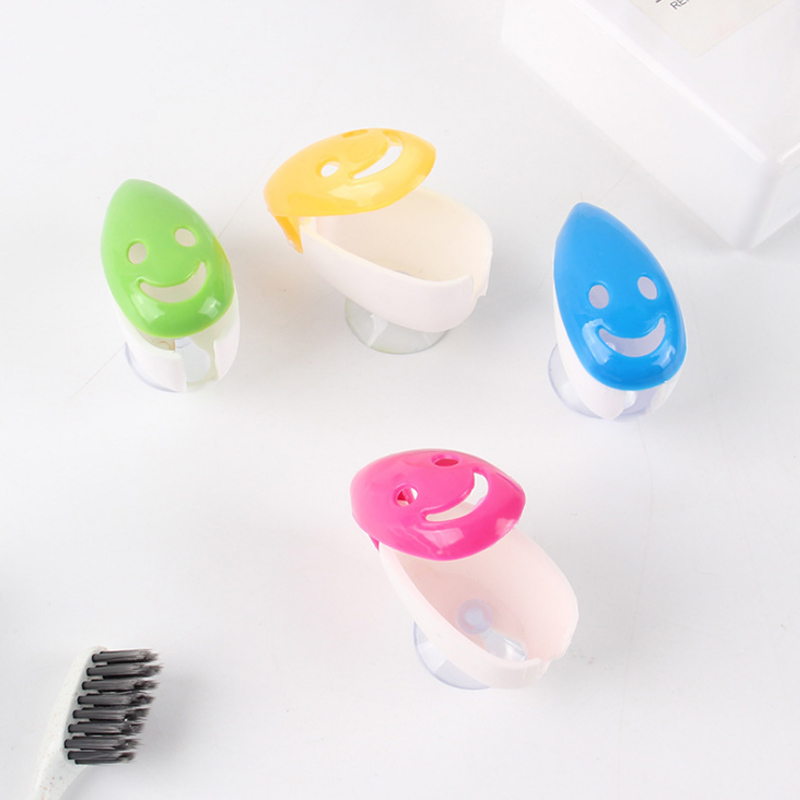 Toothbrush Holder Portable Lovely Smiley Face Toothbrush Cover Suction Cup Plastic Wall Mounted Toothbrush Rack image