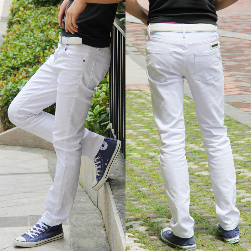 Autumn And Winter New Style Solid White MEN'S Jeans MEN'S Black Cotton-padded Trousers Straight Slim Elasticity Casual Pants MEN
