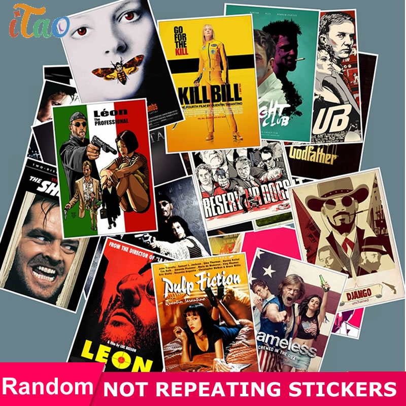 25pcs Pack Classic Movie Posters Kill Bill Stickers Waterproof PVC Skateboard Guitar Phone Luggage Funny Girl Sticker Kids Toys