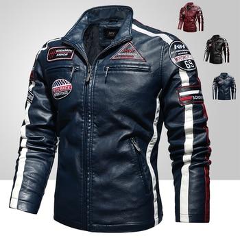 Mens Vintage Motorcycle Jacket 2020 Men Fashion New Biker Leather Jacket Male Embroidery Bomber Coat Winter Fleece Pu Overcoat 1
