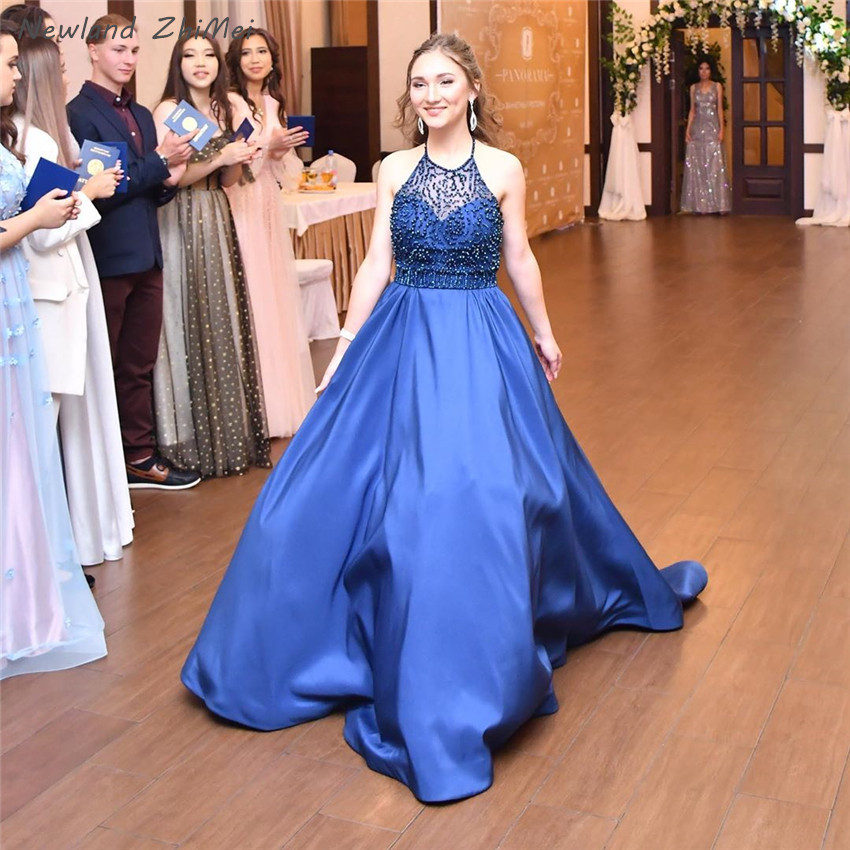 Newland Zhimei Navy Blu Lunghi Abiti da Sera Eleganti Donne Charming Una Linea Backless Senza Maniche Formale Vestiti da Partito 2020