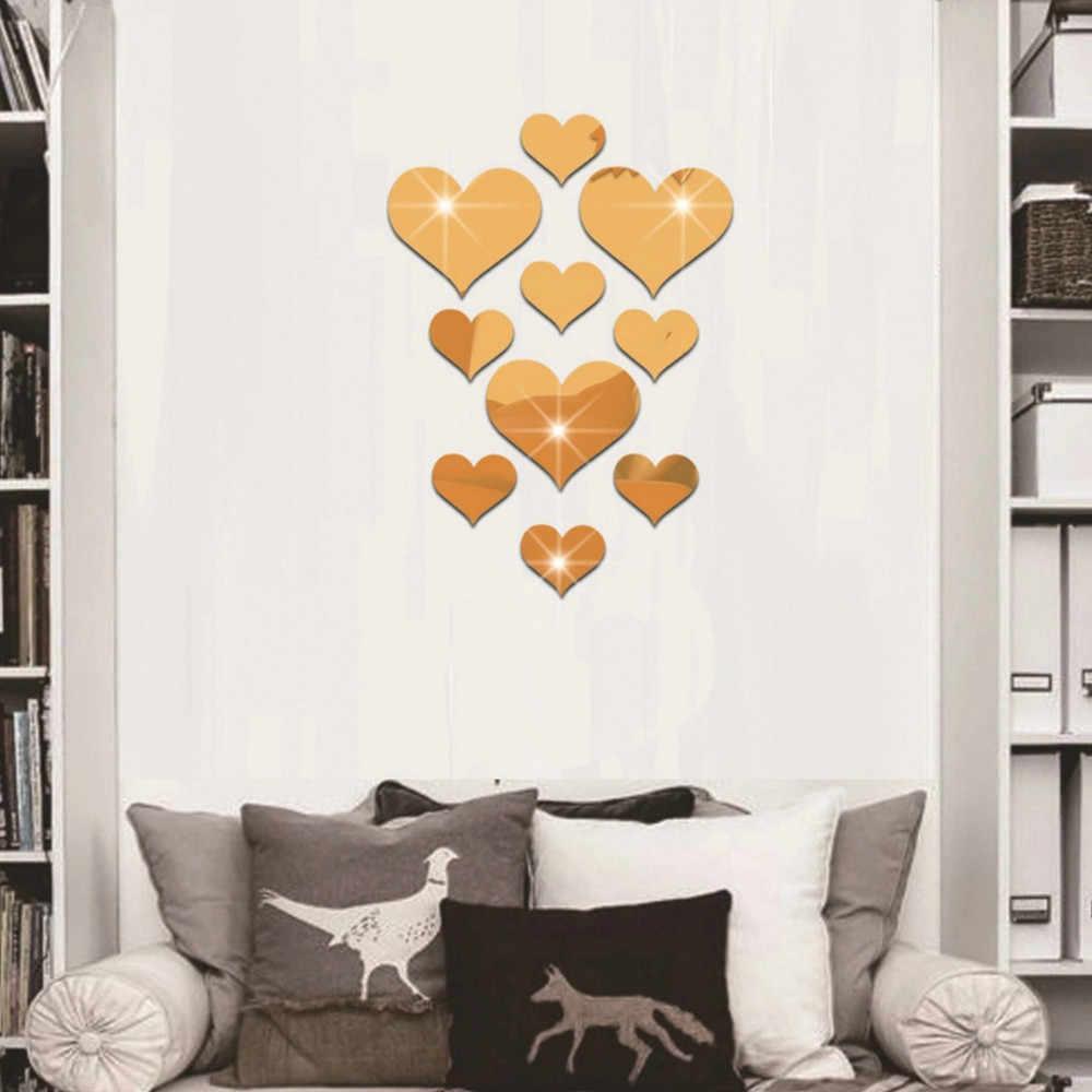 10 stücke Liebe Herz Acryl 3D Spiegel Wand Aufkleber Wohnzimmer Schlafzimmer Wandbild Aufkleber Abnehmbare Aufkleber Hause Dekoration Wand Dekor