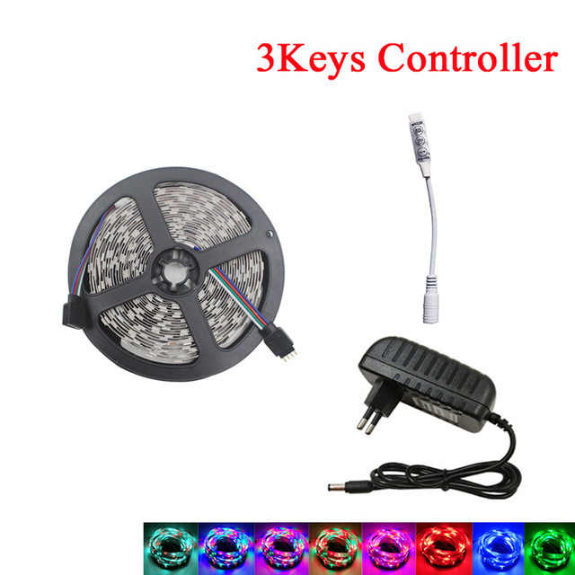 SMD 2835 LED Strip 5M Tidak Tahan Air 3 Tombol Controller dengan Power Adapter Full Set