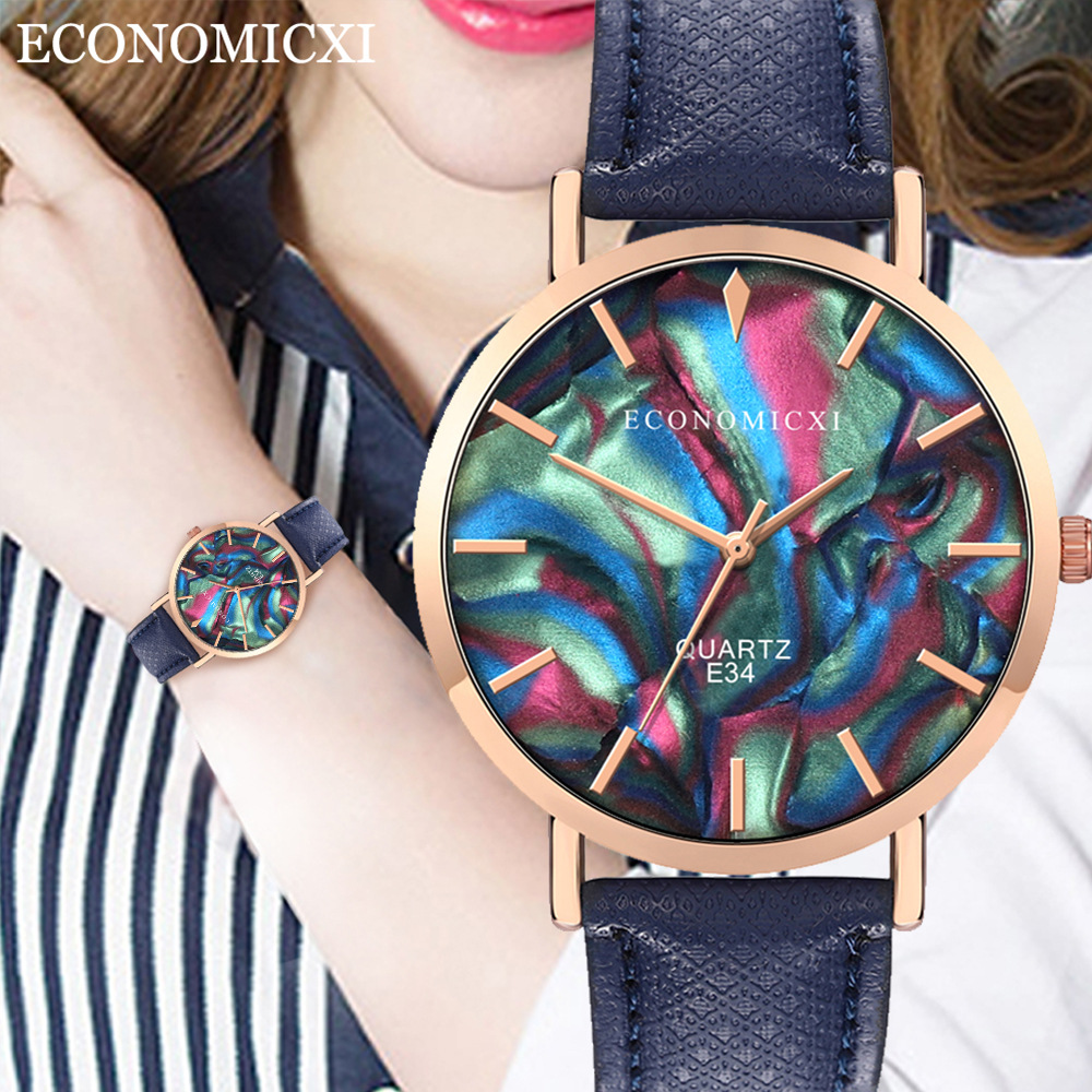часы My Girlfriend Gift Fashion Simple Personality Trend Leather Strap Ladies Watch AliExpress Explosion Quartz Watch(China)