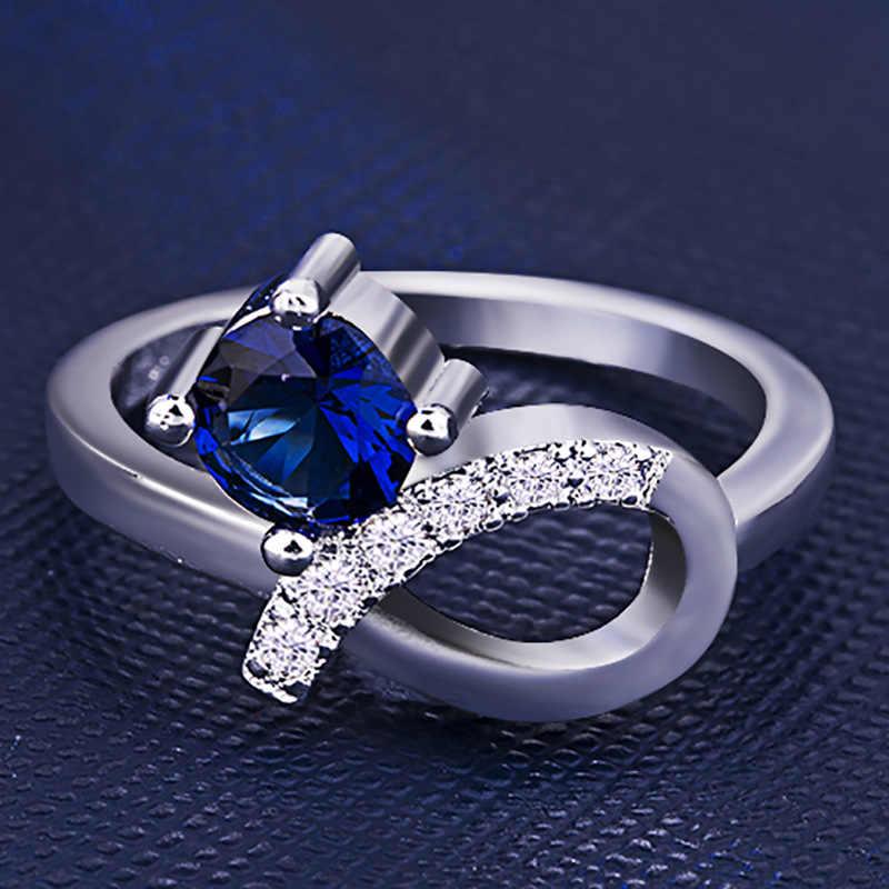แฟชั่น 925 แหวนเงินกลมสีฟ้าอัญมณี Bowknot Cubic Zirconia แหวนสำหรับหญิงงานแต่งงานของขวัญเครื่องประดับเครื่องประดับ
