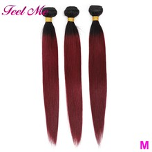 Ombre Straight Hair Bundles 1B 99J/Burgundy Two Tone Malaysian Hair Weave Bundles M Non-Remy Human Hair Pre-colored Bundles(China)