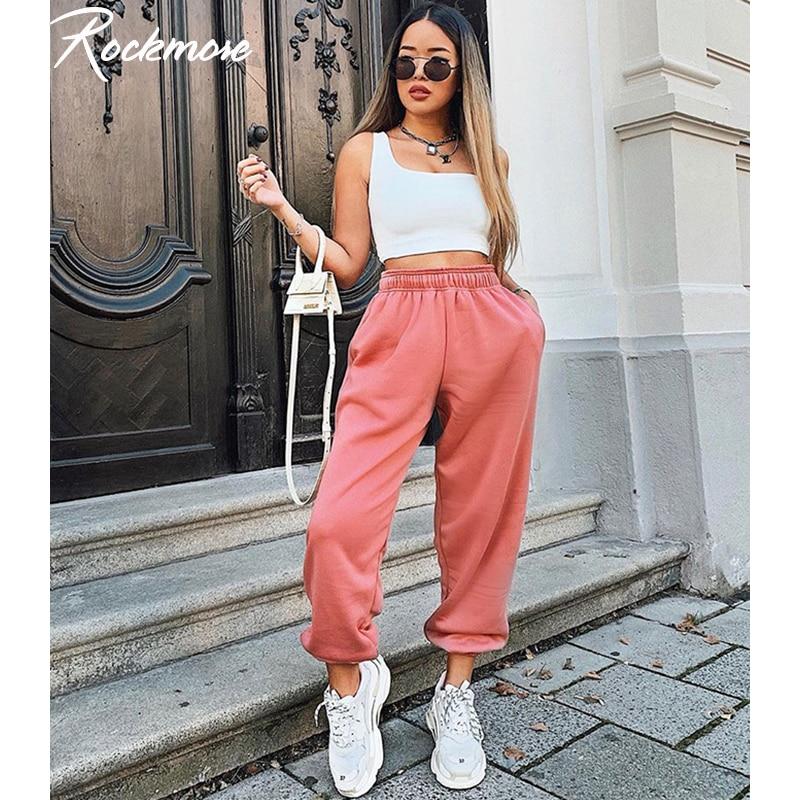 Rockmore Baggy Pencil Pants Women Plus Size Black Winter Wide Leg Sweat Pants Oversized Joggers Streetwear High Waisted Trousers