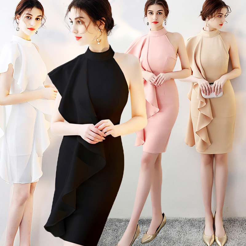 2019 Abiye Gece Elbisesi Dress New Autumn/winter 2020 Dinner Party Tight Irregular Off-the-shoulder Horn Sleeve Thin Evening
