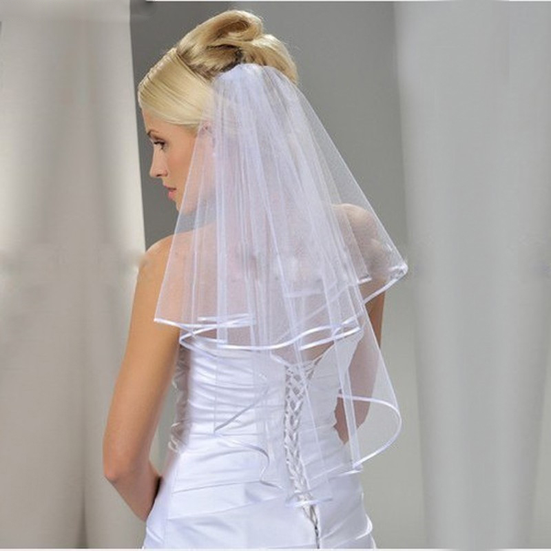 Women Wedding Veil Two Layers Tulle Ribbon Edge Bridal Veils With Short White Ivory Veil For Wedding Accessories Good Quality