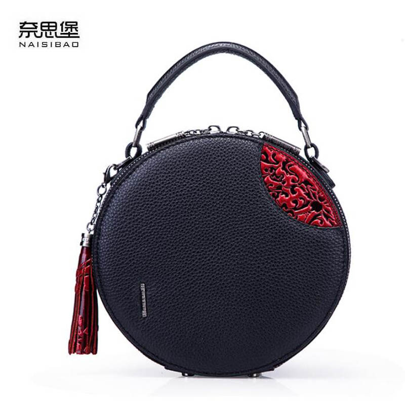 NAiSIBAO 2019 New top Cowhide women genuine Leather bag fashion Embossed bag luxury designer tote women leather shoulder bag