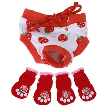 2 пары Размеры L Нескользящие дном животное пес Собачка Щенок носки красного и розового цвета с 1 шт. небольшой женский для домашних животных, одежда с рисунком щенка, физиологические