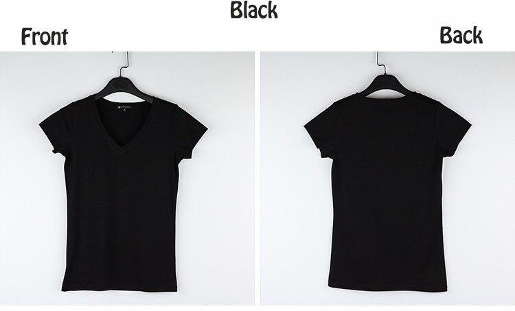 High Quality V-Neck 15 Candy Color Cotton Basic T-shirt Women Plain Simple T Shirt For Women Short Sleeve Female Tops 077 14