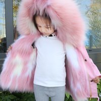 Dollplus 2019 Toddler Faux Fur Coat Hooded Warm Girl Coats Long Thick Jackets Winter Children Windbreaker Kids Outerwear Clothes