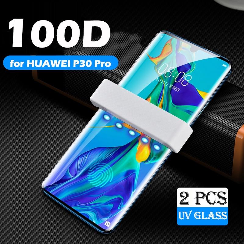Lamorniea UV Tempered Glass For Huawei P30 P20 Pro Lite 100D UV Full Liquid Glue Screen Protector For Huawei Mate 20 30 Pro Lite