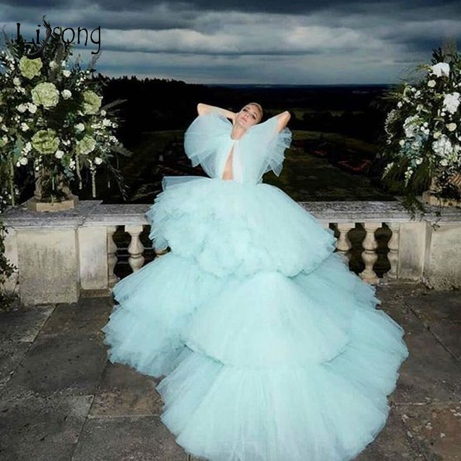 Gorgeous Very Puffy Ruffles Tulle Ball Gowns Fashion Tiered Tulle Long Prom Dresses Short Sleeves 2010 Prom Gowns Plus Size