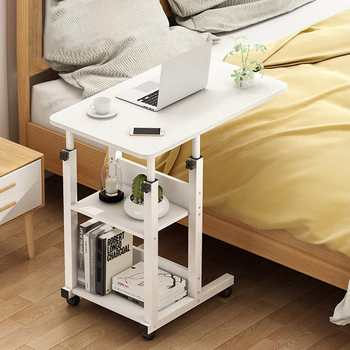 3 Tiers Adjustable Height Laptop Desk Wooden Bedside Computers Desk Removable Sofa Side Study Stand Portable Bed Table 60x40cm