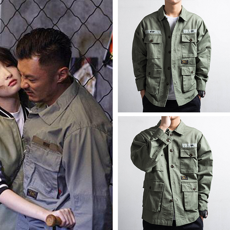 Shawn Celebrity Style Fashion Japanese-style Retro WTAP Autumn And Winter Tooling Jacket Men's Coat Thin Multi-pockets Military-