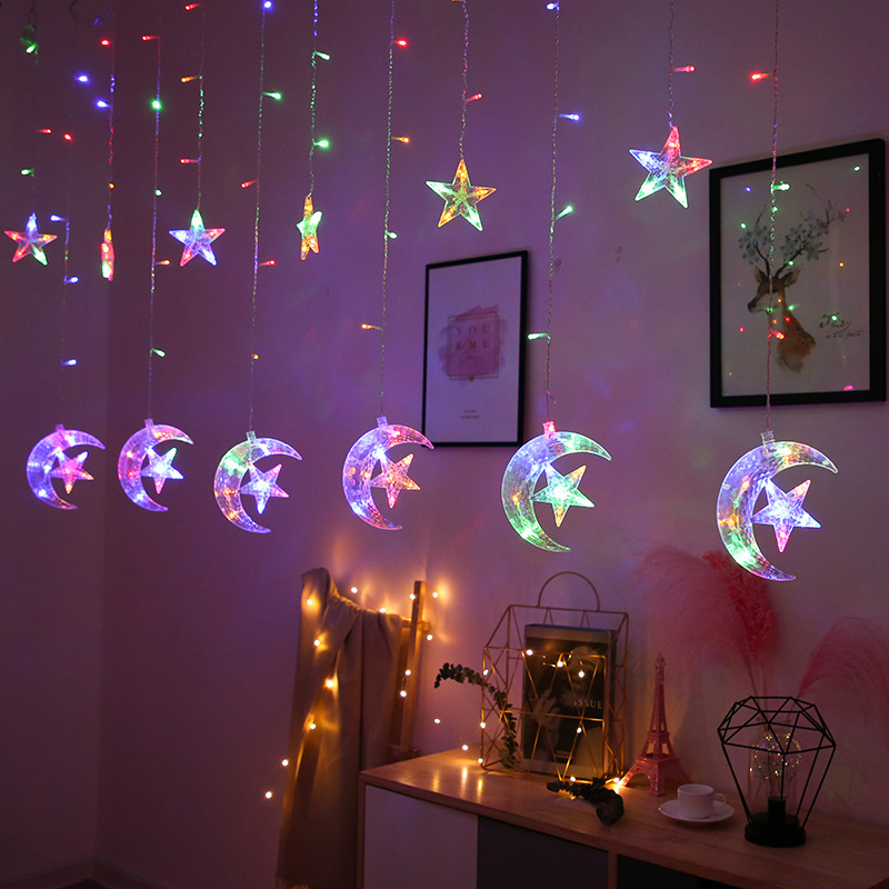 Curtain LED Light String Fairy Christmas Party Wedding Ins Lamp 8 Mode EU Plug Stars Style Room House Decoration Light String