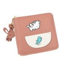 Women Fashion Kitten Eating Wallet Fish Faux Leather Zipper Tassel Coin Card Package Wallets Pouch Clutch Lady Purse PU